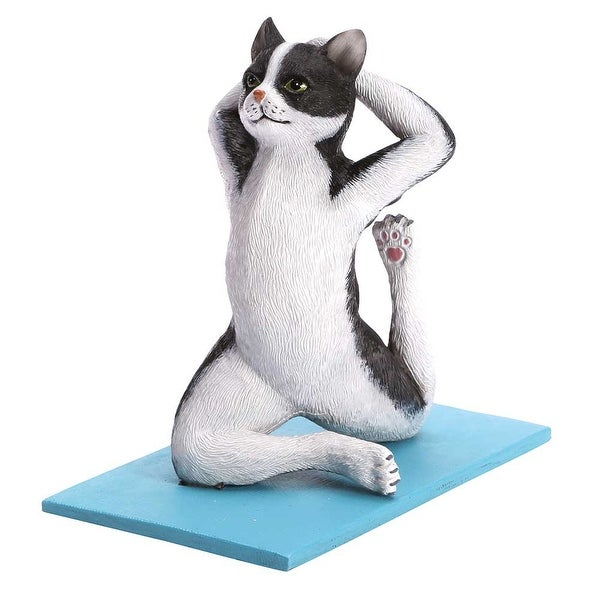 Yoga Cat Figurine - Black And White Resin - Exclusive From What On Earth