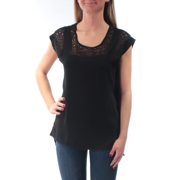 NY COLLECTION Womens Black Eyelet Cap Sleeve Jewel Neck Top Size: XS