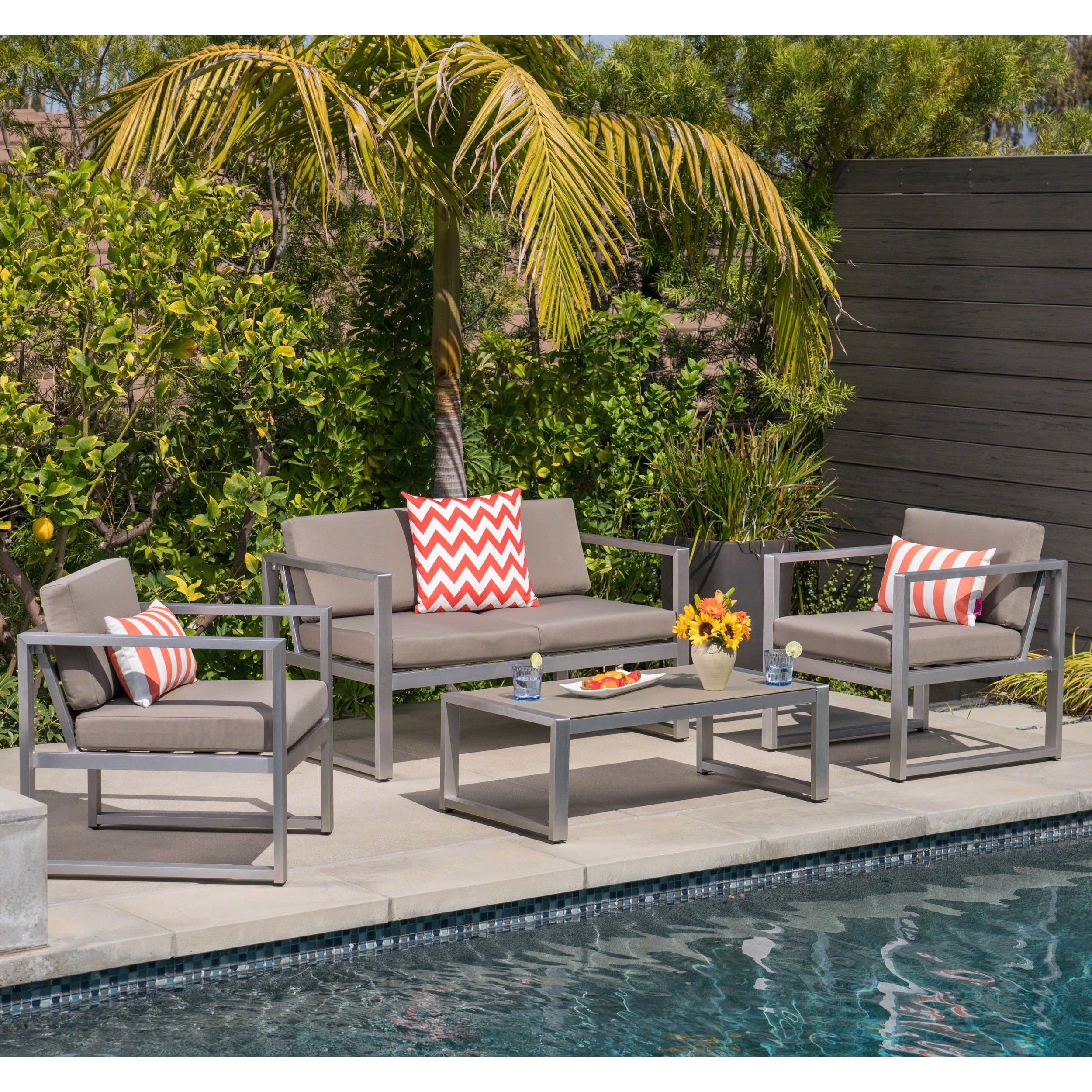 Shop Navan Outdoor 4-piece Aluminum Conversation Set with Grey