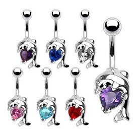 """Navel Belly Button Ring with Dolphin Heart CZ - 14GA 3/8"""" Long (Sold Ind.)"""