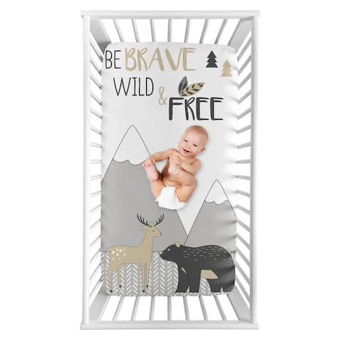 Woodland Animal Collection Boy or Girl Photo Op Fitted Crib Sheet - Beige, Grey and White Boho Deer Bear Mountain Friends