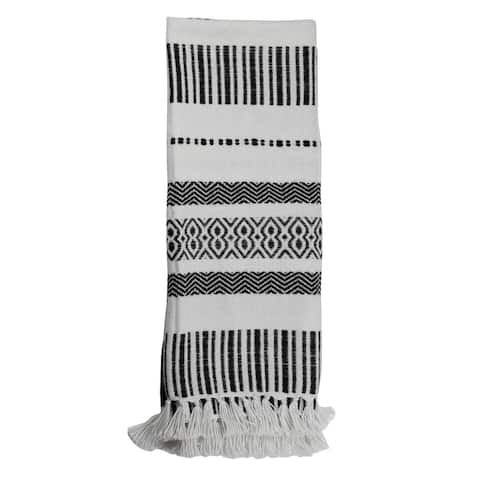 Foreside Home & Garden Boho Pattern Hand Woven 50 x 60 inch Outdoor Safe Throw Blanket with Hand Tied Tassels