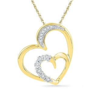 Twin Heart Pendant 10k Yellow Gold With Diamonds 0.05Ctw By MidwestJewellery - White
