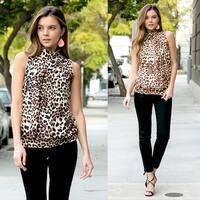 RIAH FASHION Women's Animal Print Mock Neck Sleeveless Top S-3X