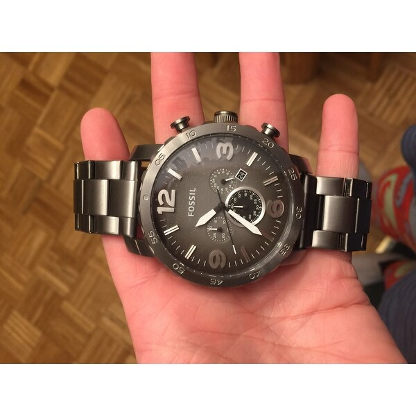 5ee355498a73 Shop Fossil Men s  Nate  Chronograph Smoke Watch - Free Shipping Today -  Overstock - 7992304
