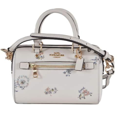 Coach 1495 Mini Rowan Dandelion Flower Print Mini Boston Crossbody Purse Bag