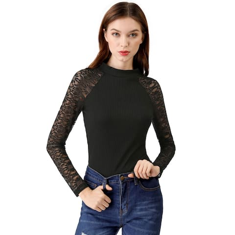 Unique Bargains Women's Lace Sleeve Ribbed Fitted Turtleneck Top - Black