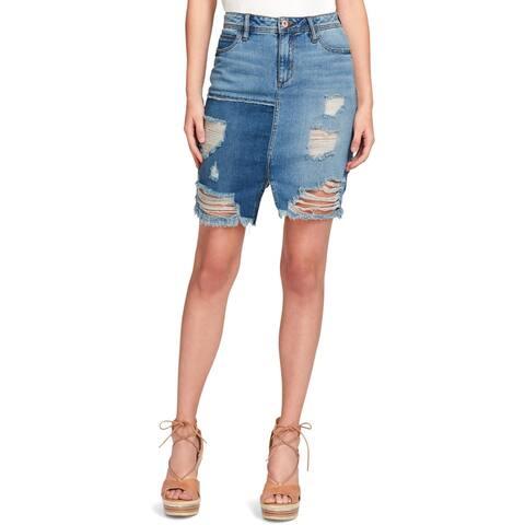 Jessica Simpson Womens Denim Skirt Ripped Patchwork - 28