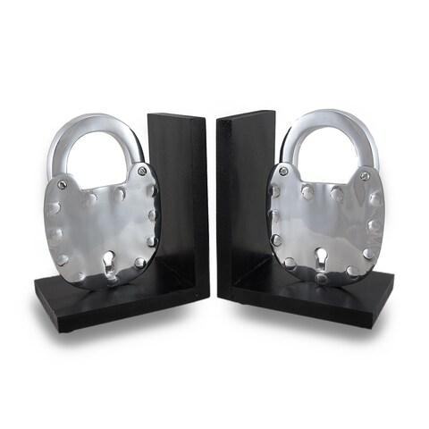 Pair of Polished Cast Aluminum Padlock Bookends