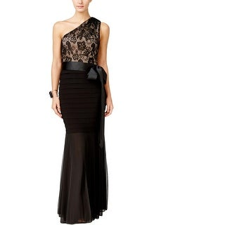 B&A by Betsy and Adam Womens Evening Dress Lace Overlay Banded