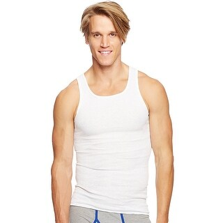Hanes Classics Men's Traditional Fit ComfortSoft® TAGLESS® Ribbed A-Shirt 3-Pack - Size - L - Color - White
