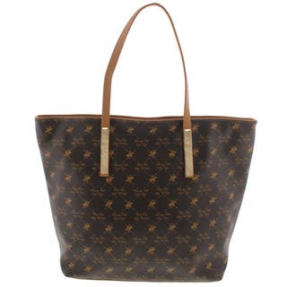 Beverly Hills Polo Club Womens Tote Handbag Faux Leather Printed Extra Large
