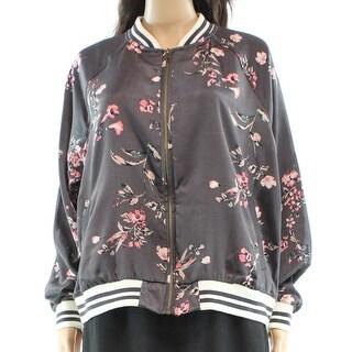 Designer NEW Gray Women's Size Large L Floral Print Bomber Jacket