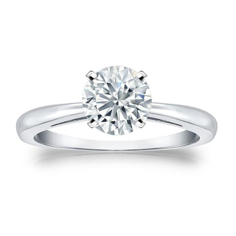 Auriya 14k Gold 3ctw Round Solitaire Diamond Engagement Ring GIA Certified