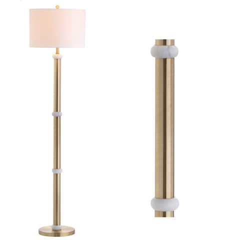 """Gregory 60.5"""" Metal/Marble LED Floor Lamp, Brass Gold/White by JONATHAN Y - 60.5"""" H x 15"""" W x 15"""" D"""