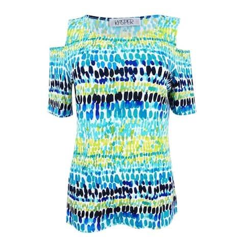 Kasper Women's Plus Size Multi Print Cold Shoulder Top - Island Multi