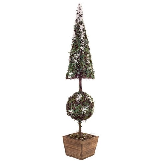 """40.5"""" Winter Wonderland Snow-Covered Christmas Topiary Tree in Wood Base - green"""