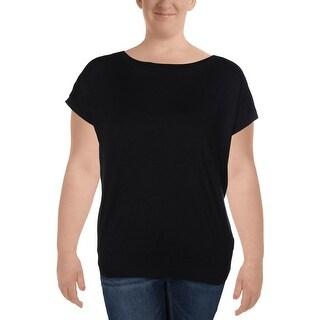 Lauren Ralph Lauren Womens Sweater Ribbed Trim Cap Sleeves - XL