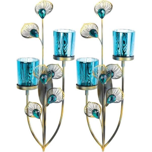best service f8128 ffaff 2 Peacock Plume Candle Wall Sconces