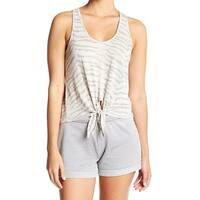 Alternative White Ivory Womens XS Zebra Print Tie-Front Tank Top
