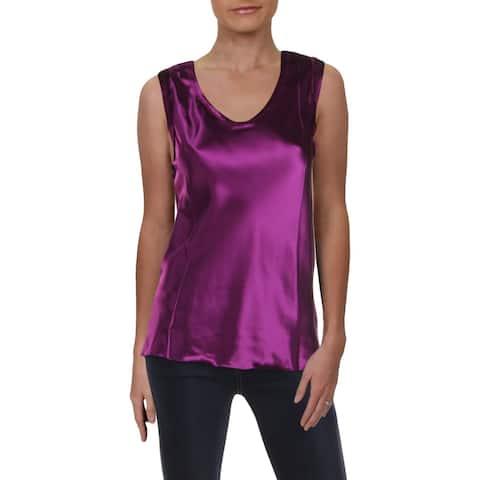 Helmut Lang Womens Blouse Raw Hem Sleeveless - Ultra Violet - 8