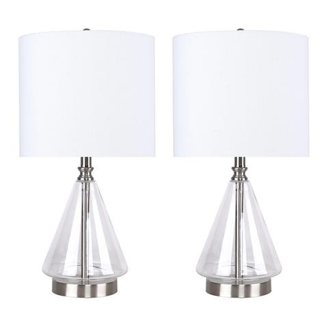 """20"""" Glass Accent Lamp with Cone-Shaped base and Linen Drum Shade (Set of 2)"""