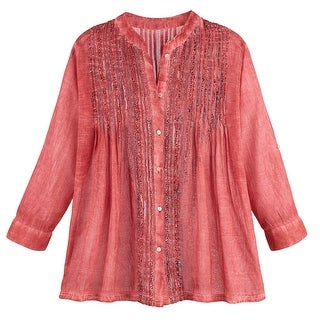 Women's Tunic Shirt and Scarf Set - Desert Rose Red - Button Down Top