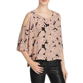 Aqua Womens Blouse Open-Shoulder Chiffon
