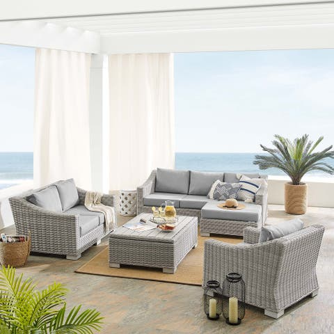 Conway Sunbrella® Outdoor Patio Wicker Rattan 5-Piece Furniture Set