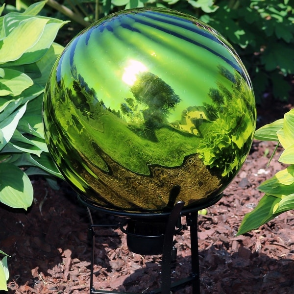 Sunnydaze Green Rippled Mirrored Surface Gazing Globe Ball - 10-Inch - Set of 2 - Set of 2