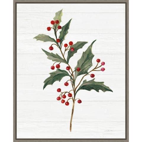Christmas Moments IV (Holly) by Silvia Vassileva Framed Canvas Art
