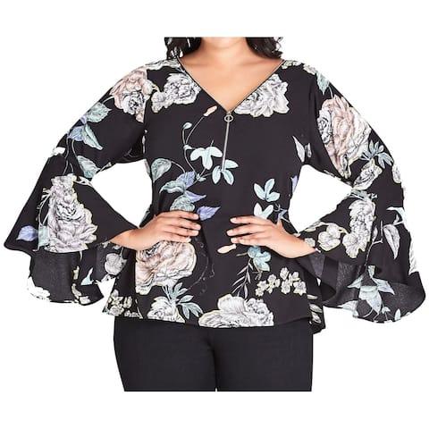 City Chic Women's Blouse Black Size 14 Plus Floral V-Neck Bell Sleeve