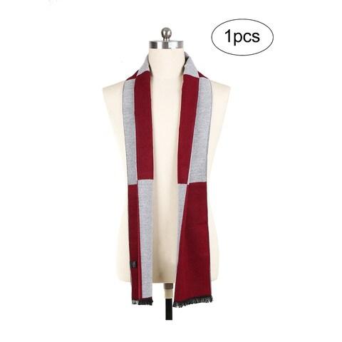 Men Plaids Pattern Warm Soft Wrap Shawl Long Scarves Burgundy+Light Gray - Burgundy+Light Gray