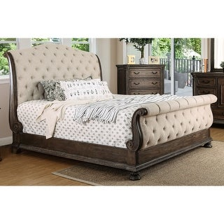 Link to Furniture of America Brev Rustic Beige Fabric Button-tufted Sleigh Bed Similar Items in Bedroom Furniture