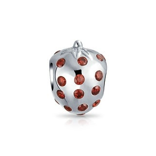 Bling Jewelry Strawberry Fruit Red CZ Charm Bead .925 Sterling Silver