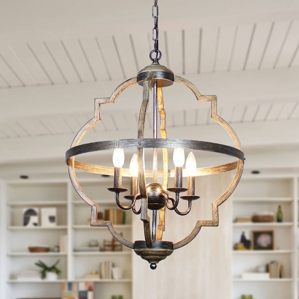 Antique Distressed Metal 4-light Candle Style Chandelier. Opens flyout.