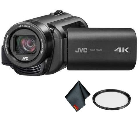 JVC Everio Quad Proof 4K Camcorder with 10x Optical Zoom (Gray) - Bundle Kit with UV filter and More
