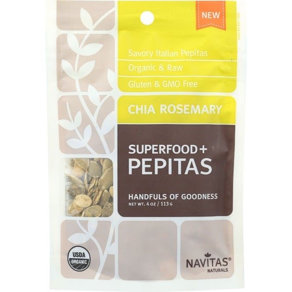 Navitas Naturals Pepitas - Organic - Superfood Plus - Chia Rosemary - 4 oz - case of 12