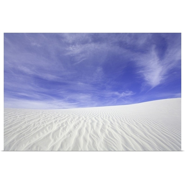 """""""Flowing patterns and shapes created by wind on white gypsum sand dunes, New Mexico"""" Poster Print"""