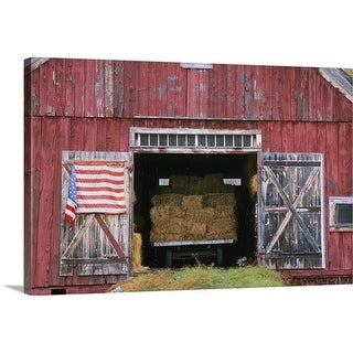 Premium Thick-Wrap Canvas entitled American flag hanging from a barn door