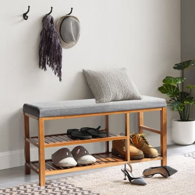 Veikous Bamboo Freestanding Stool Shoe Racks with Gray Seat Cushion