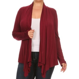 Women Plus Size Long Sleeve Jacket Casual Cover Up Maroon