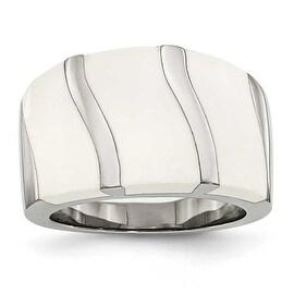 Stainless Steel White Enamel Ring (15 mm)