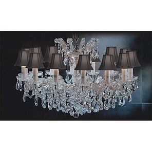 Maria Theresa Crystal Chandelier Lighting With Black Shades Gold