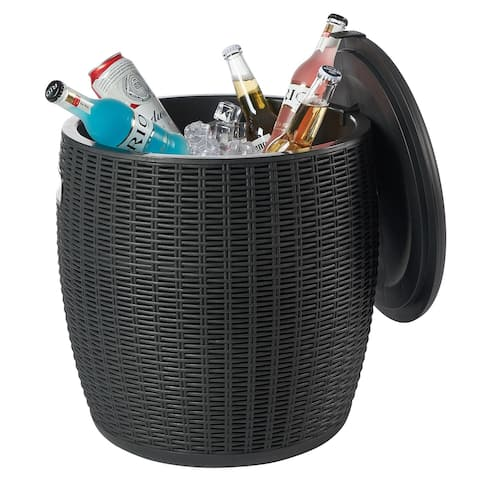 Nuzanto 36L/9.5 Gallon Ice Barrel Beer and Wine Cooler Outdoor Patio Side Table