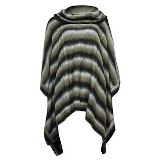 Cable & Gauge Women's Striped Cowl Poncho Sweater