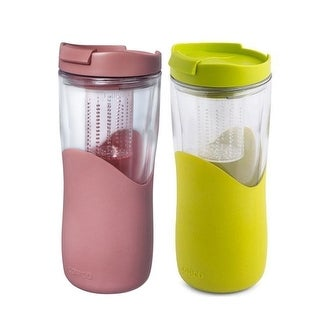 2 Pack Copco Tea Thermal With Removable Infuser - Double Wall Insulated Tumbler 14 Oz - Rose Gold Green - Rose Gold / Green