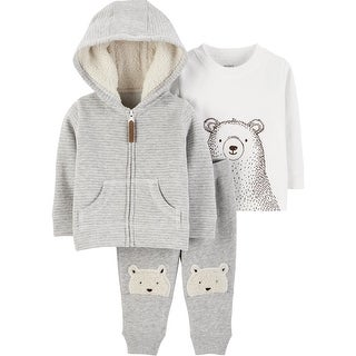 Carter's Baby Boys' 3-Piece Fleece Jacket Set, Bear Print