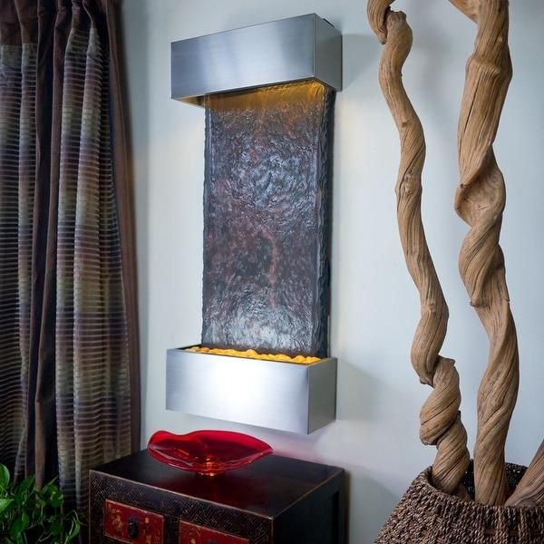 Nojoqui Falls Lightweight Indian Raja Slate Medium Wall Fountain (Brushed Stainless Steel)