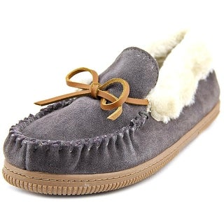 White Mountain Sleepover Women Moc Toe Suede Gray Slipper